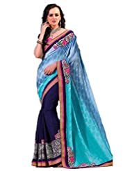 AG Lifestyle Blue Jacquared Saree With Unstitched Blouse ASL812