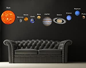popdecors printed solar planets wall sticker living room space planet wall stickers contemporary wall stickers