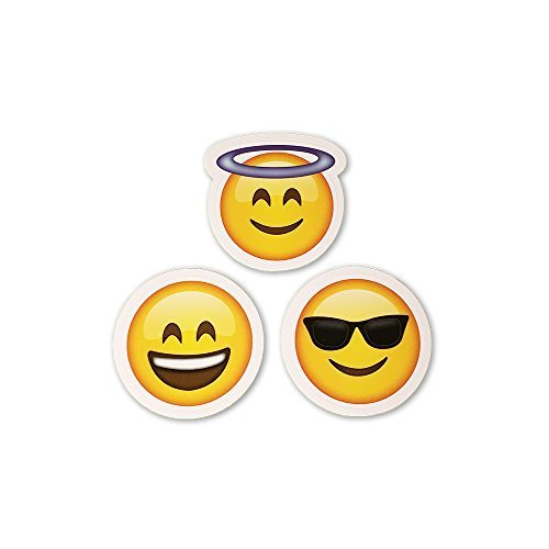 15 Big Emoji Stickers | Each Over 2″ | Variety of Emojis | Halo, Smile, Faces, Poo, Cats | Set #1