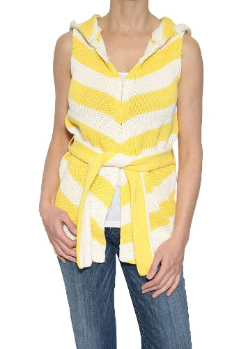 Alice & Olivia Women's Hooded Vest in Yellow/White Size M