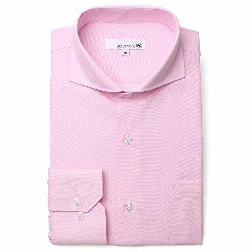 オックスフォード ドレスシャツ 長袖 ワイシャツ Yシャツ シャツ メンズ スリム ピンク カッタウェイ ホリゾンタルカラー DC7003C-3780