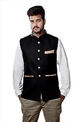 Veera Paridhaan Men's Cotton Nehru Jacket (VP0071038_38_Black)