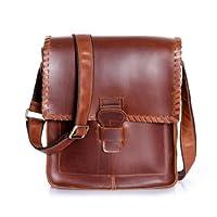 Amango Cowhide Leather Messenger Bag Dark Brown