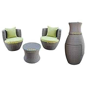 GRAY - 3 Piece Wicker Rattan VASE Stackable Coffee Table Lounge Chair Tempered Glass Top Indoor Outdoor Patio w/ Khaki & Orange Cushions ...