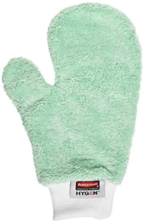 "Rubbermaid Commercial FGQ65200GR00 Hygen Microfiber Dusting Mitt, 11-7/8"" Length x 9-7/8"" Width x 2"" Height, Green"