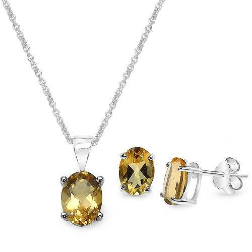 Silvancé - Women'S Sets - Earrings And Pendant 925 Sterling Silver Genuine Citrine - E1621-P2754C