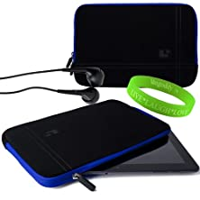 buy Sumaclife Accessories Onyx With Electric Blue Trim Drumm Neoprene Sleeve For Coby Kyros 10 Inch Tablet Device + Black Coby Kyros 10 Inch Compatible Ear Buds + Vangoddy Live+Laugh+Love Wristband