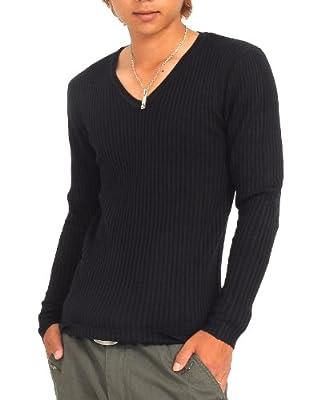 ニット メンズ カットソー セーター カシミアタッチ Vネック ニットソー 薄手 ニットセーター【q146】(M, ブラック)