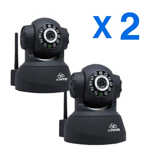 KARE N5402JV Network IP Camera With Night Vision and Pan/Tilt Ability, DDNS Ready, MSN Host inside, Plug and Play, Remote Internet Access for PC and Smartphone, APP For Smartphone Ready, Motion Detect and Email Alert, Suitable For Home Security, Baby Monitor and Pet Camera(SET OF 2)