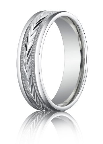 14K White Gold, 6mm Comfort-Fit Harvest of Love Round Edge Carved Band (sz 6.5)