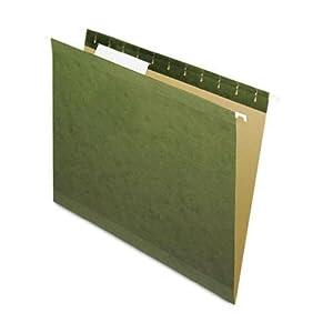 Pendaflex 1/3 Reinforced Standard Green 1/3-Tab Hanging File Folders 25 Pack (415213)