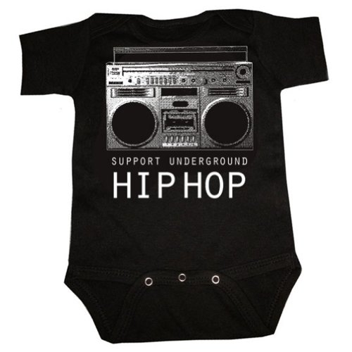 Graphic Villain Support Underground Hip Hop Boombox Baby Toddler. Black. 3 To 6 Months.