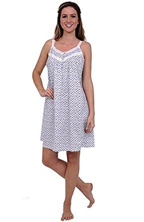 Del Rossa Women's Priscilla 100% Cotton Long Victorian Sleeveless Nightgown, Small Blue Floral Print (A0527P87SM)