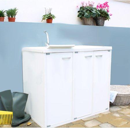 Base coprilavatrice con lavatoio per interno o esterno in resina