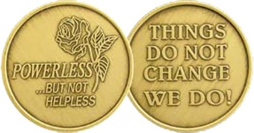 Powerless But Not Helpless Rose - Bronze AA (Alcoholics Anonymous) -ACA-AL-ANON - Sober / Sobriety / Affirmation / Birthday / Anniversary / Desire / Recovery / Medallion / Coin / Chip - 1