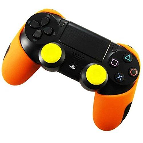 DOTBUY Silicone Case Denso Metà Custodia Protettiva per PS4 x 1 + 2 Controller analogico puntina manopole Cap (Orange)