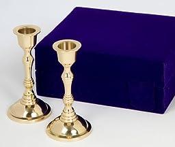Traditional Brass Plated Candlesticks - Velvet Box