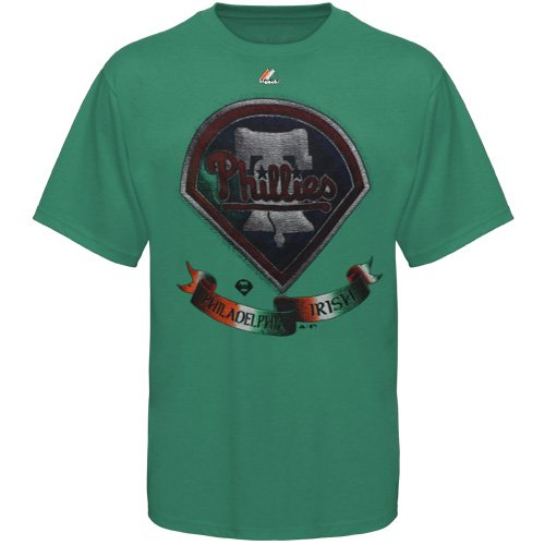 MLB Majestic Philadelphia Phillies St. Patrick's Day Shamrock Fields T-Shirt - Kelly Green (XX-Large) at Amazon.com