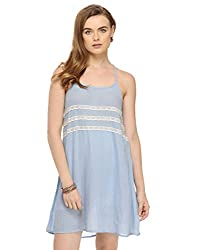 Solid Blue Dress With T Lace Back Small