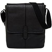 Cole Haan Pebble Leather Reporter Bag (Black / British Tan)