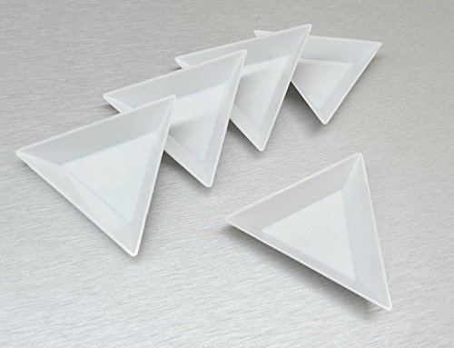 5 WHITE PLASTIC TRIANGLE SORTING TRAYS GEMSTONE RHINESTONES CRAFTS BEADWORK (Gem Sorting Tray compare prices)