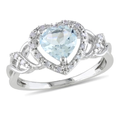 Sterling Silver Created Aquamarine Heart Ring, Size 7