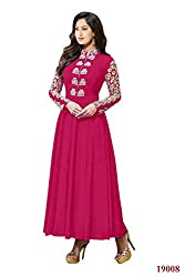 Rajnandini Women's Faux Georgette rose anarkali style gown with Emboidery Anarkali Suit- Dress Material