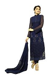 Nevey Blue Heavy Chiffon Karachi Work Dress Material Of Dinnar Latest Designer Chiffon Salwaar Suit