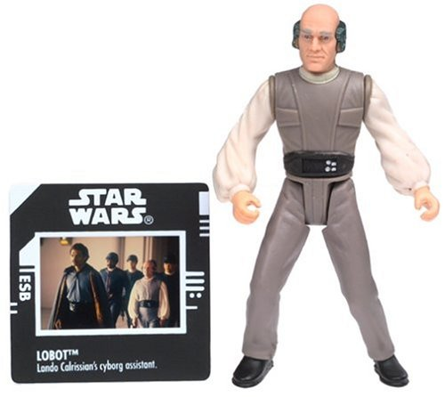 Star Wars, The Power of the Force Green Card, Lobot Action Figure with Freeze Frame Slide, 3.75 Inches