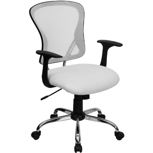 Beautiful Flash Furniture Mid Back White Mesh Office Chair with Chrome Finished Base H