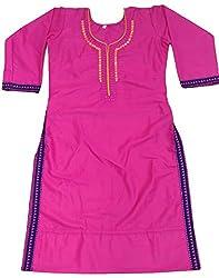 Clickedia Girl's & Women's Semi Stitched Cotton Pink Embroidered Semi-Stitched Kurti