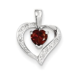 Genuine IceCarats Designer Jewelry Gift Sterling Silver Rhodium Heart Garnet & Diamond Heart Pendant In Sterling Silver