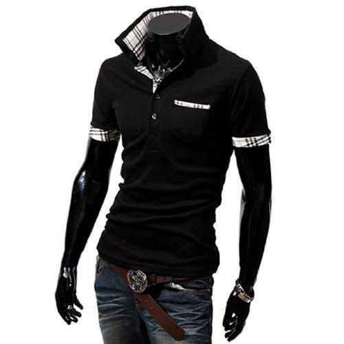 (ライセンス)RAiseNsE 半袖ポロシャツ チェック柄 シャツ #TP104 XL ブラック