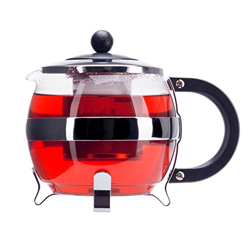 Stunning Glass Globe Teapot with Cozy Warmer, Borosilicate Glass, Beautiful Chrome Finish Tea Kettle - 9cm Stainless Steel Infuser, Large Enough for 4 to 5 Cups of Tea (Antique Tea Kettle Whistle compare prices)