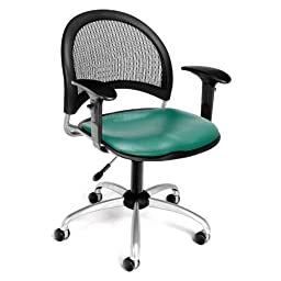 OFM 336-VAM-AA3-602 Moon Swivel Vinyl Chair with Arms, Teal