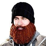Beard Head Barbarian Vagabond - Black Beanie + Short Knitted Brown Beard