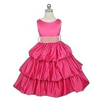 Flowergirl Dress - Fuchsia Satin Bubble w/ Detachable Pink Sash (Girls Size 1/2-15/16), FUCHSIA SIZE 3/4
