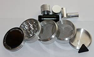 Authentic SMART CRUSHER 5 Piece Herb Tobacco Grinder + 5 piece Pollen Press +FREE POLLEN SCRAPPER