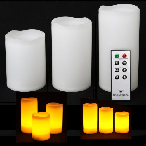Frostfire Mooncandles – 3 Weatherproof Outdoor and Indoor Candles with Remote Control & Timer