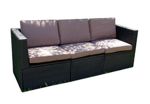 Gartenmöbel 3tlg. Sitzgruppe Poly Rattan Lounge Garten Garnitur ecru günstig online kaufen