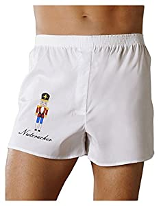 Nutcracker Design - Red Gold Black Text Boxers Shorts - White - Large