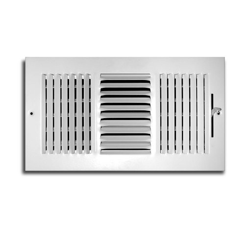 Truaire C103M 10X06(Duct Opening Measurements) 3-Way Supply 10-Inch by 6-Inch Sidewall or Ceiling Register Grille, White (Ceiling Register 10x10 compare prices)