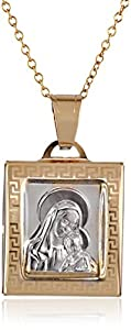 14k Two Tone Gold Mama Mary and Baby Jesus Square Medal Necklace, 18""