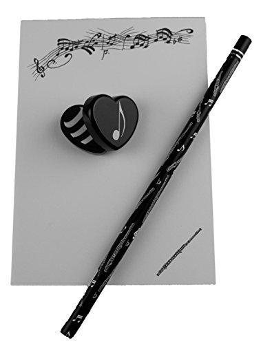 Notizblock-mit-Bleistift-und-Radiergummi-Querflte-Schnes-Geschenk-fr-Musiker