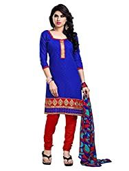 Anjali Presents Latest Blue & Red Embroidered Dress Material