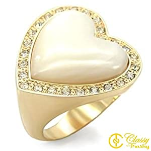 Size 9 Heart White Synthetic Stone Brass Gold Plated Ring