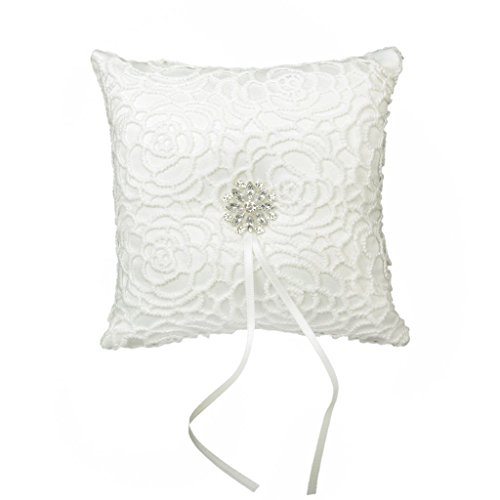 Great Deal! 15cmx15cm Wedding Ring Pillow Ivory Satin Diamante Flower