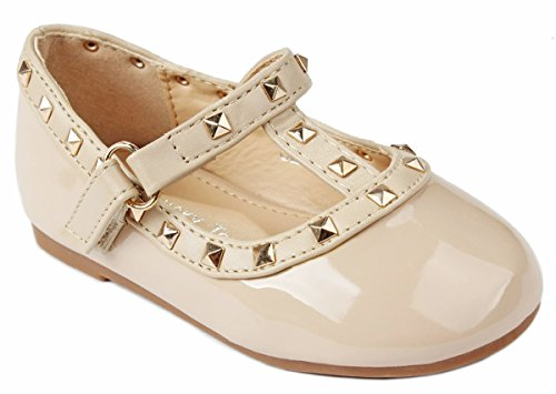 Baby Girls S-6A Beige T-Strap Rivet Studded Mary Jane Infant Toddler Ballet Flat Dress Shoes-8