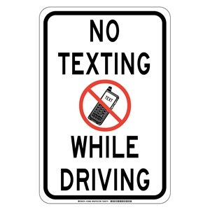 Brady 129482 traffic control sign legend quot no texting while driving