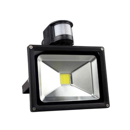 Lemonbest Super Bright Led 20W Pir Motion Sensor Led Floodlight Cool White Inducing Flood Lamp 6500K Lighting Fixture Kit Black Housing